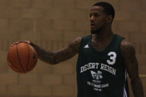 Pierre Jackson (Desert Pines) surveys the defense during the second week of action at the Desert Reign ProCity League over the summer.