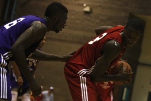 UNLV freshman Demetris Morant posts up a defender during the second week of action at the Desert Reign ProCity League over the summer.