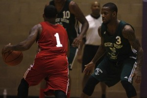 Pierre Jackson (Desert Pines) plays defense during the final week of action at the Desert Reign ProCity League over the summer.