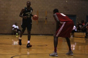 UNLV teammates face off as junior Roscoe Smith looks to get past freshman Demetris Morant during the final week of action at the Desert Reign ProCity League over the summer.