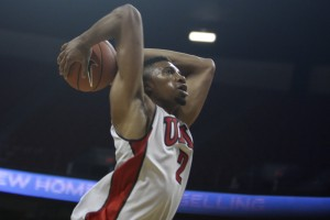 UNLV junior Khem Birch gets ready to throw down a dunk during a fast break in the first half of the scrimmage.