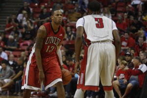 UNLV junior Bryce Dejean Jones lines up against UNLV senior Kevin Olekaibe during the second half of the scrimmage.