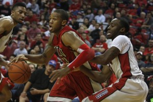 UNLV junior Bryce Dejean-Jones drives to the basket during the second half of the scrimmage.