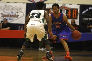 Bishop Gorman senior guard Noah Robotham dribbles against the defense against Sheldon during day 2 of the Tarkanian Classic.