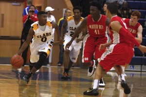Clark junior guard Colby Jackson leads the break against Mater Dei during day 2 of the Tarkanian Classic.