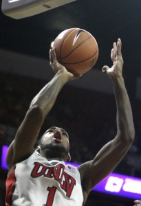 UNLV forward Roscoe Smith goes up for a layup in the first half of UNLV's MWC quarterfinal game against Wyoming.