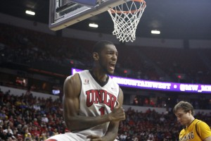 UNLV forward Roscoe Smith celebrates a basket in the second half of UNLV's MWC quarterfinal game against Wyoming.