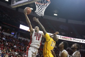 UNLV guard Bryce Dejean-Jones lays it up late in the second half of UNLV's MWC quarterfinal game against Wyoming.