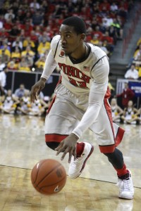 UNLV guard Deville Smith drives to the basket in the second half of UNLV's MWC quarterfinal game against Wyoming. He finished with 15 points.