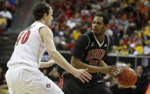 UNLV guard Jelan Kendrick thinks about his options in the second half of UNLV's MWC semifinal game against San Diego St.