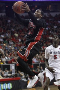 UNLV guard Deville Smith glides for a layup in the second half of UNLV's MWC semifinal game against San Diego St. He led the Rebels with 17 points.