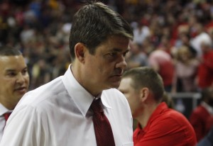 UNLV head coach Dave Rice walks off the court after the buzzer sounds in UNLV's MWC semifinal game against San Diego St.