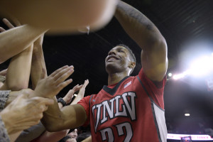 UNLV guard Patrick McCaw greets fans after defeating UNR in their Mountain West Conference game Saturday, Feb. 20, 2016, at the Thomas & Mack Center. UNLV won the game in overtime, 102-91. CREDIT: Sam Morris/Las Vegas News Bureau